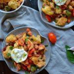 Rustic Italian Panzanella Salad with Tomatoes, Olives, and Tuna