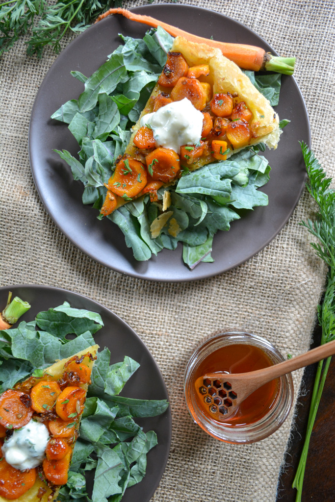 Savory Carrot Tarte Tatin - a savory spin on a class French recipe
