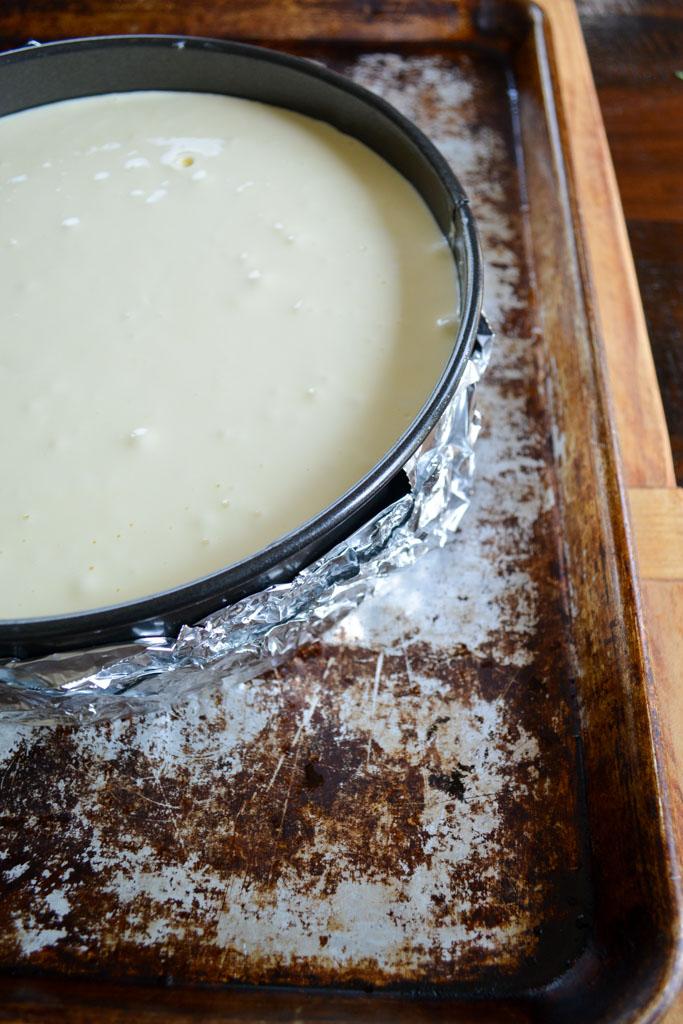 Cheesecake in water bath - Fig & Gingersnap Cheesecake
