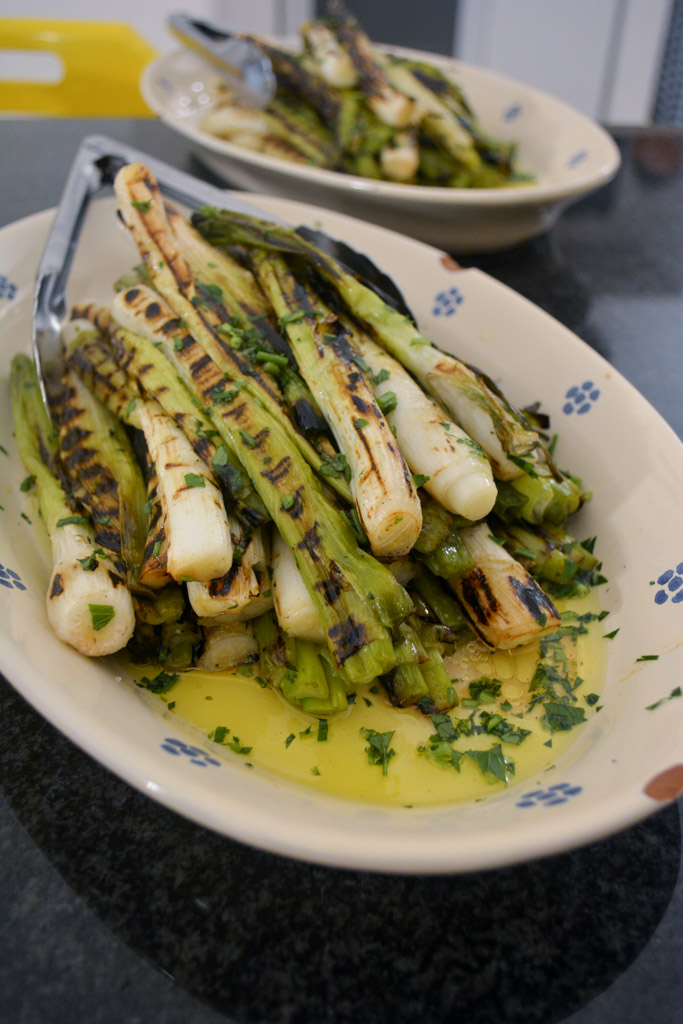 Spring onions with parsley and olive oil at the Awaiting Table Cooking School in Puglia, Italy