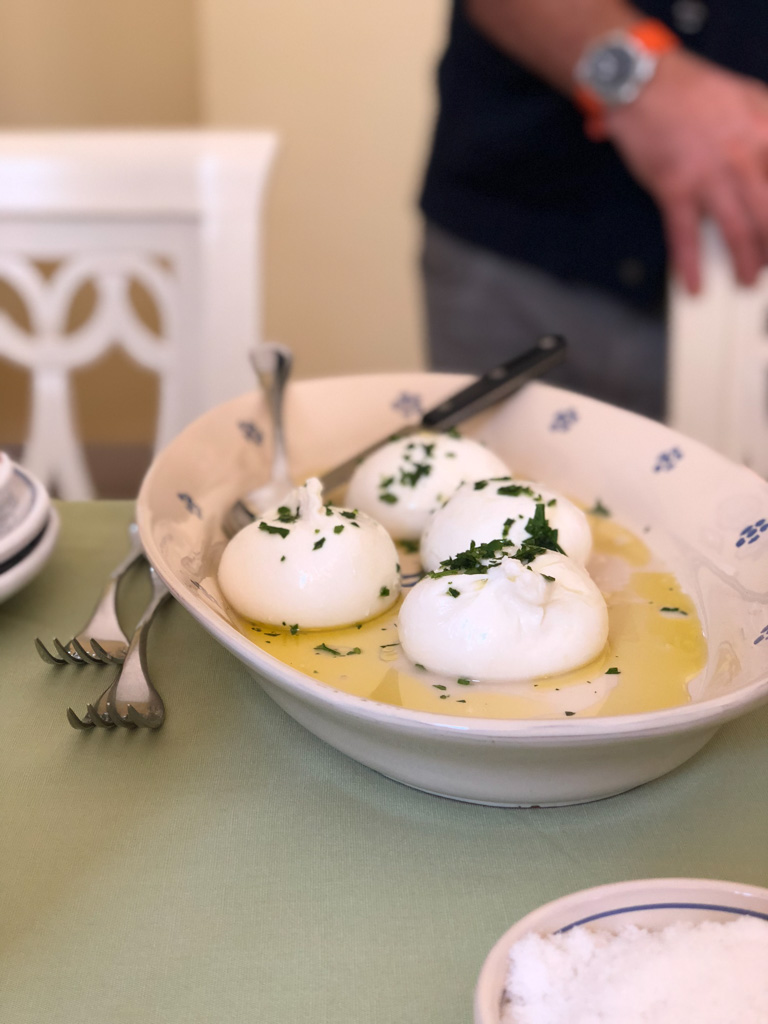 Fresh Burrata with Olive Oil and Herbs at the Awaiting Table Cooking School in Puglia, Italy