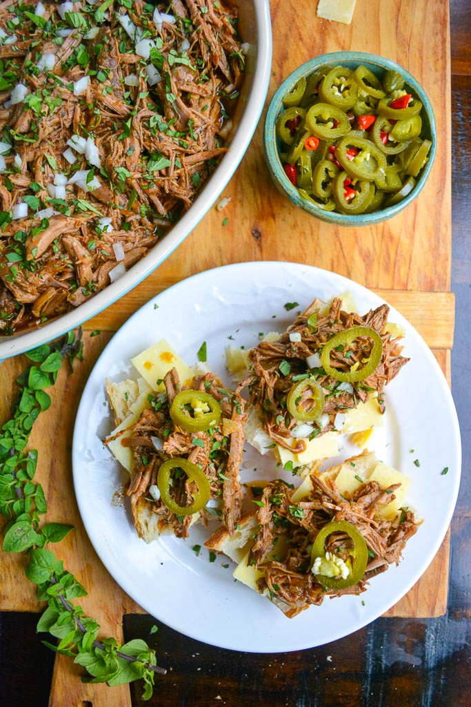 Slow Cooked Italian Beef with Quick Pickled Jalapenos