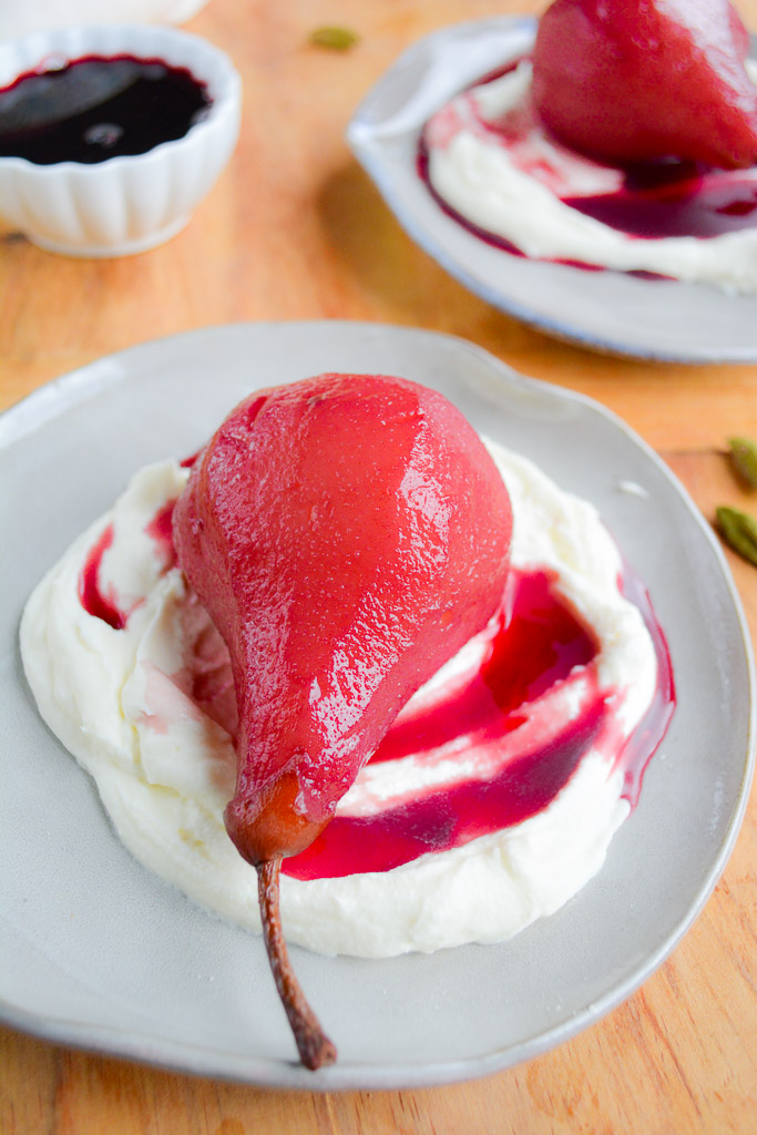 Spiced Red Wine Poached Pears over Sweet Mascarpone Whipped Cream