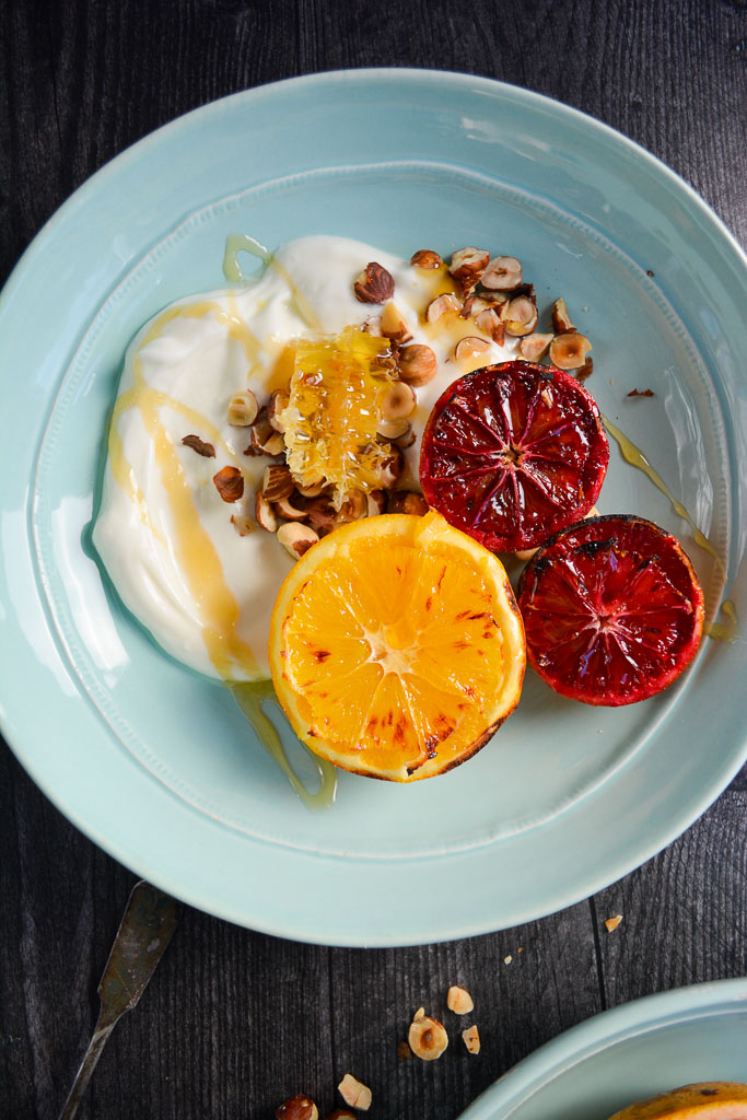 Broiled Citrus with Honey, Hazelnuts and Greek Yogurt