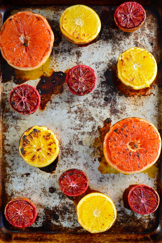 Broiled Grapefruit, Broiled Navel Oranges, and Broiled Blood Oranges fresh from the oven