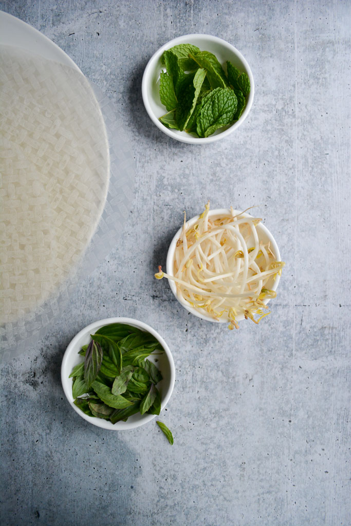 Mint, Bean Sprouts, Thai Basil, and Rice Paper