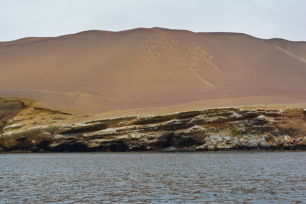 Nazca drawing of a candelabra in the sand near Paracas, Peru