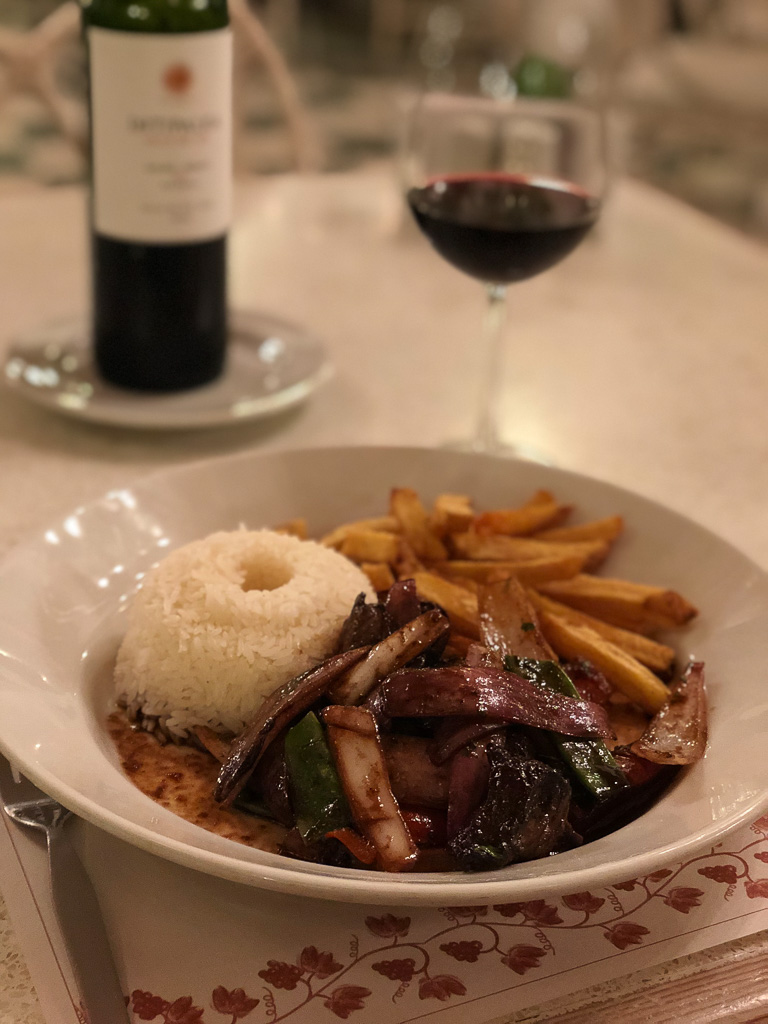 Lomo Saltado at Hotel Vinas Quierolos in Ica, Peru