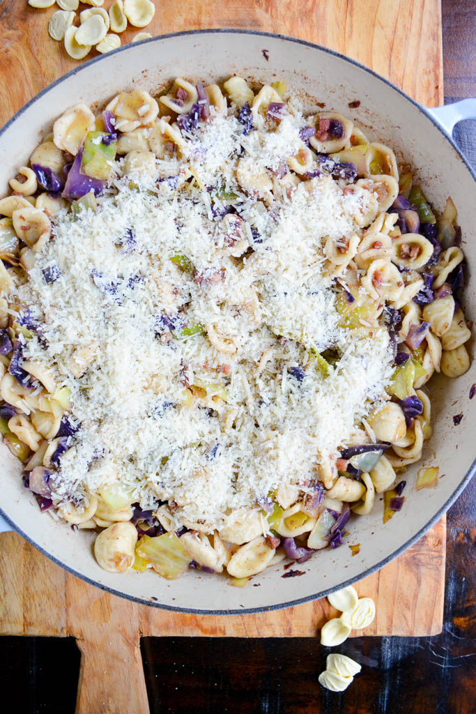 Pasta with Cabbage and Pancetta sprinkled with fresh grated parmesan