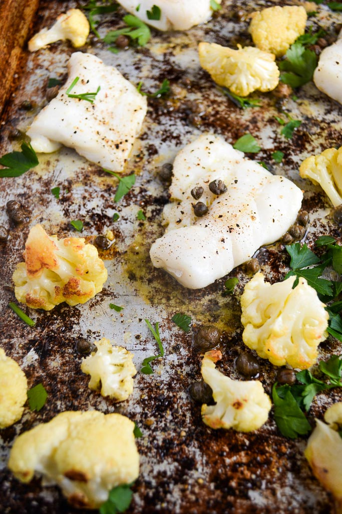 Baked cod and cauliflower with parsley and capers