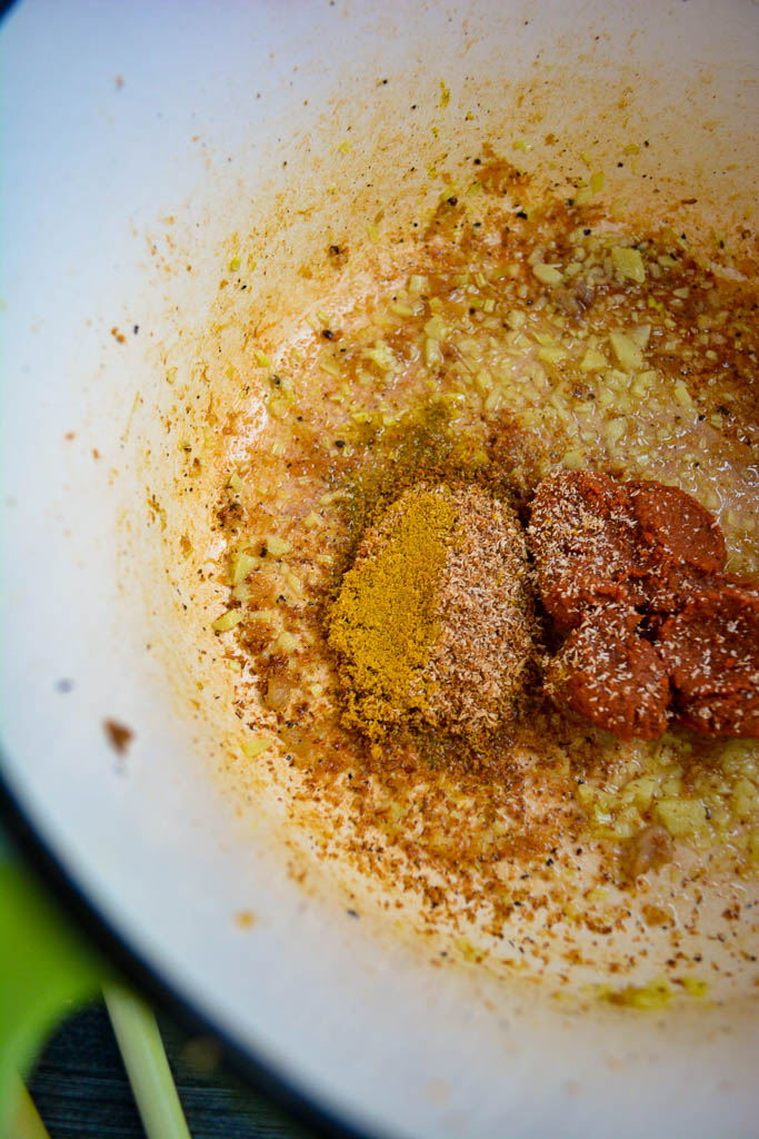 Sauteed Lemongrass, red curry paste, curry powder, cardamom, and nutmeg
