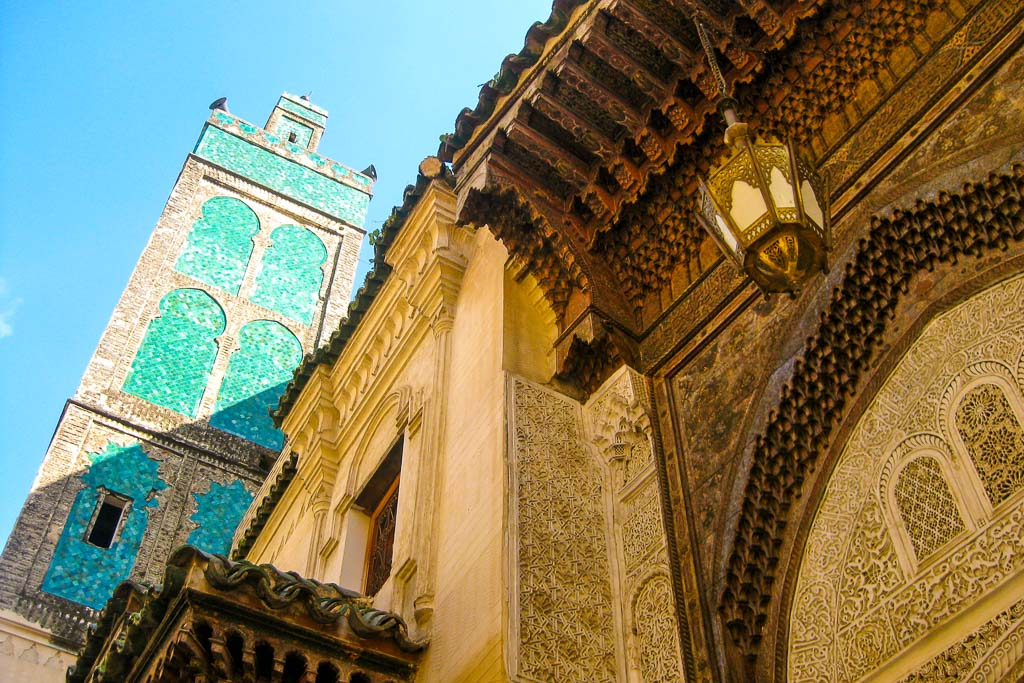 Ornate mosque in the souks of Fes, Morocco