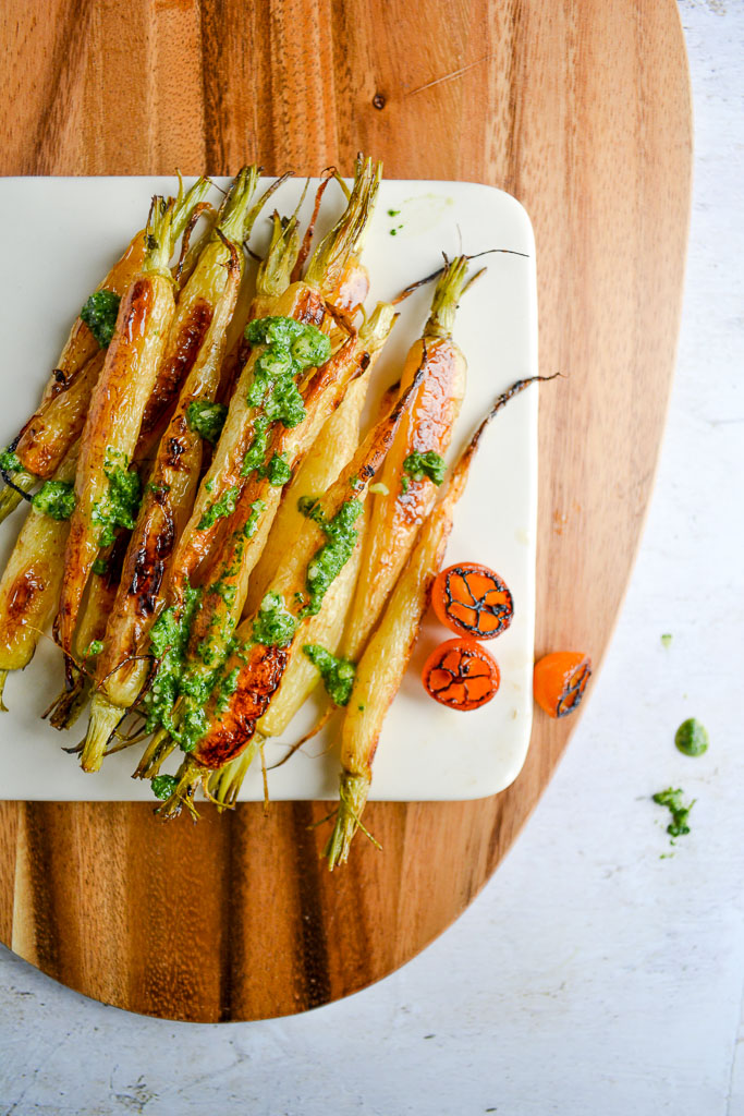 Roasted Baby Carrots with Carrot Top Pesto