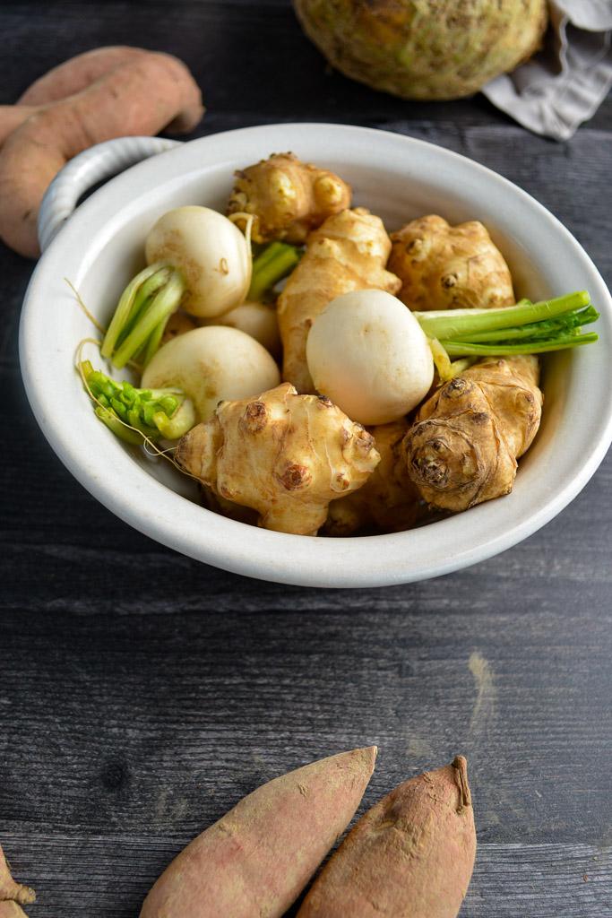 Sunchokes, Hakurei Turninps and Fingerling Sweet Potatoes