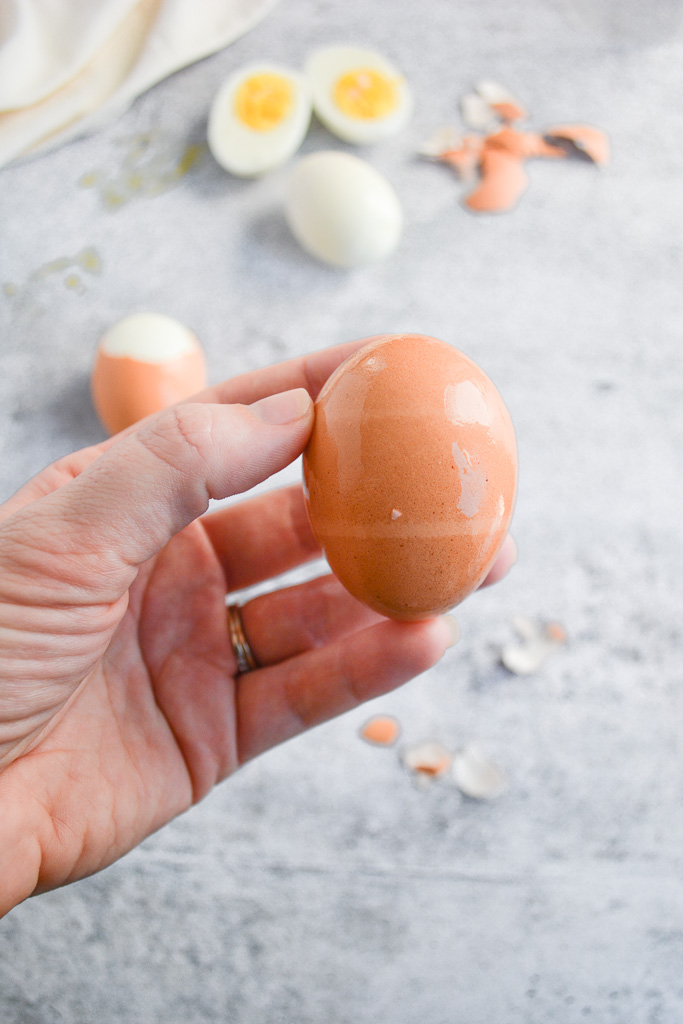 Hard boiled egg with the air pocket facing up