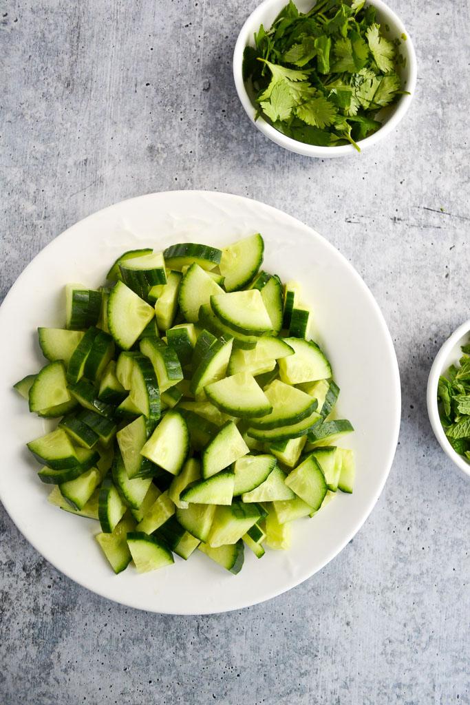 Sliced cucumber, and fresh mint