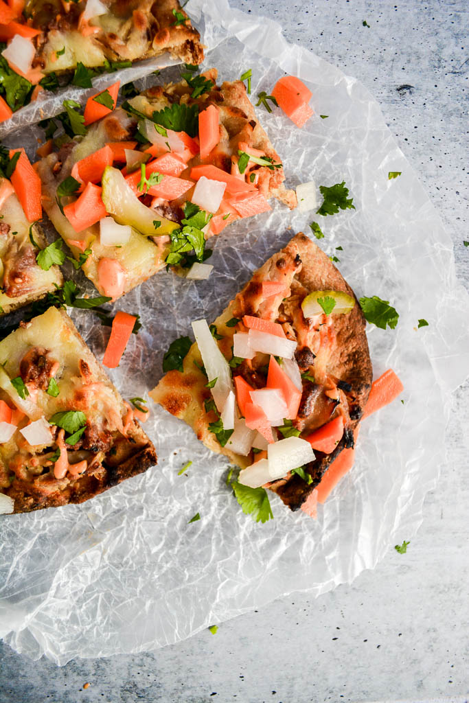 Banh Mi Pizza with Quick Pickled Asian Vegetables