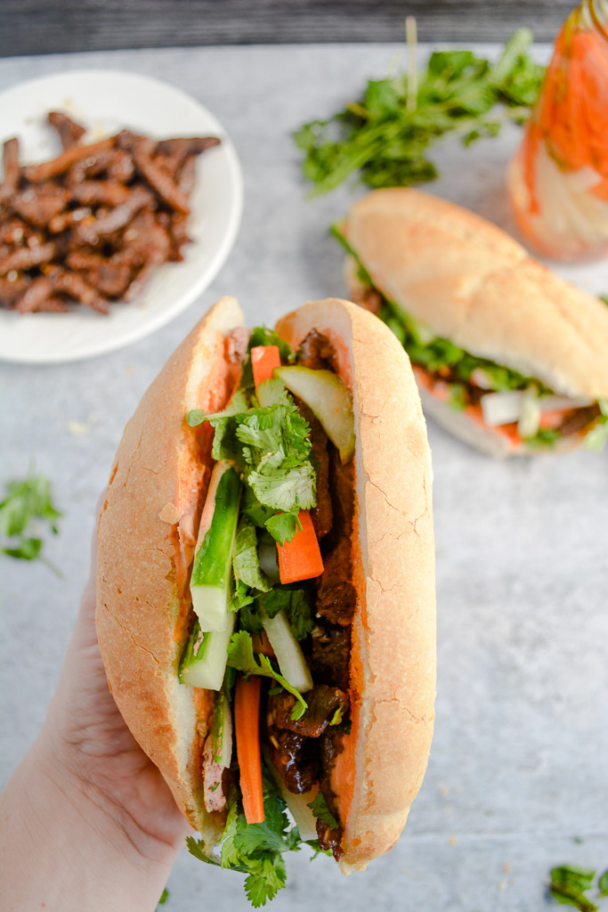 Lemongrass Beef Banh Mi Sandwich