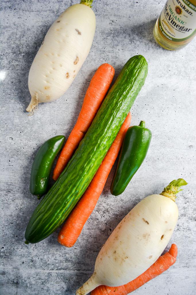 Cucumber, carrots, jalapeno, and daikon radish