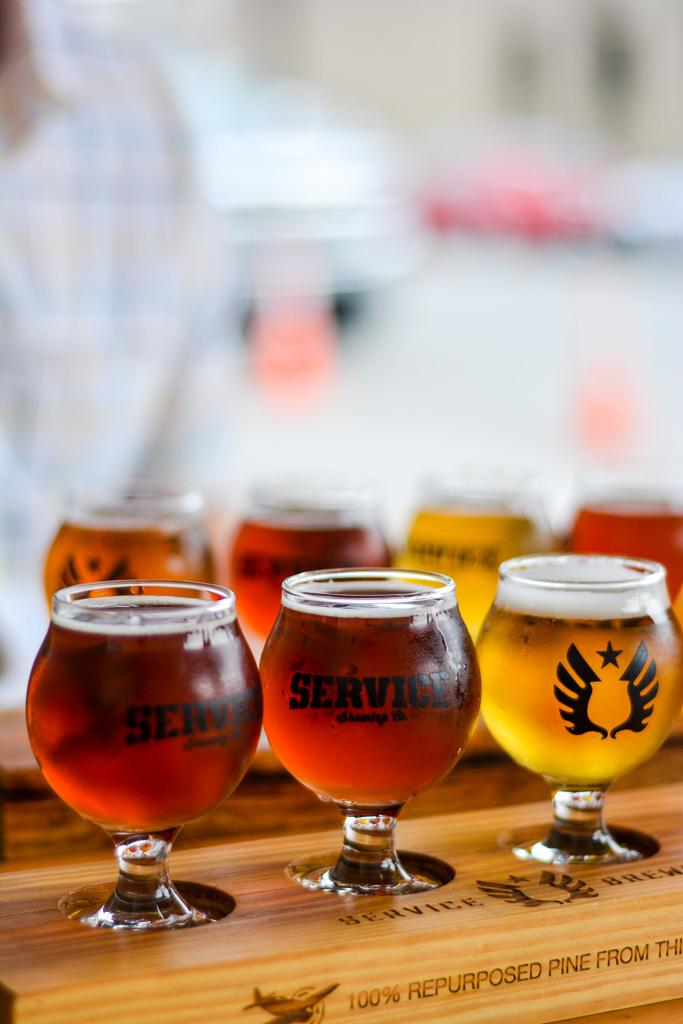 Beer flight at Savannah Brewing Company in Savannah, Georgia