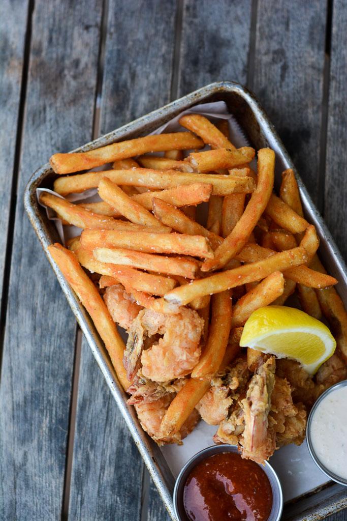 Breaded local shrimp at The Wyld Dock Bar in Savannah, Georgia