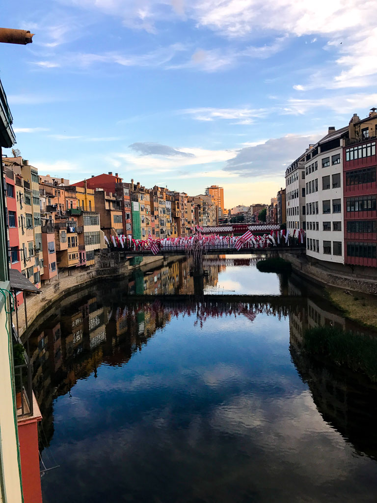 Colorful buildings on the river in Girona