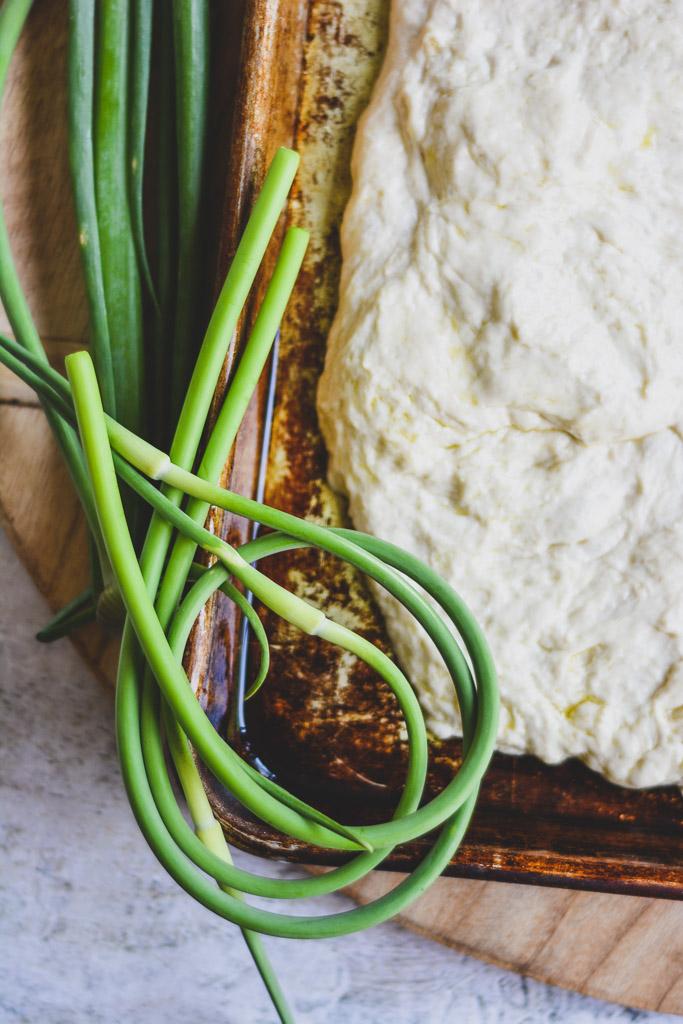 Garlic scapes and focaccia dough