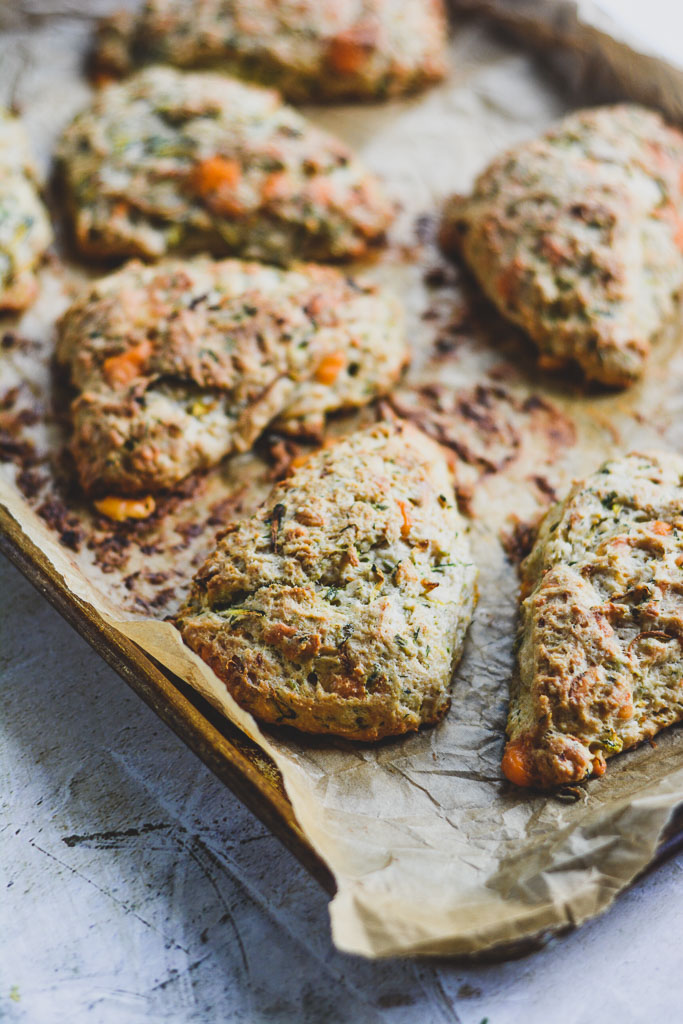 Savory Scones on Parchment Paper