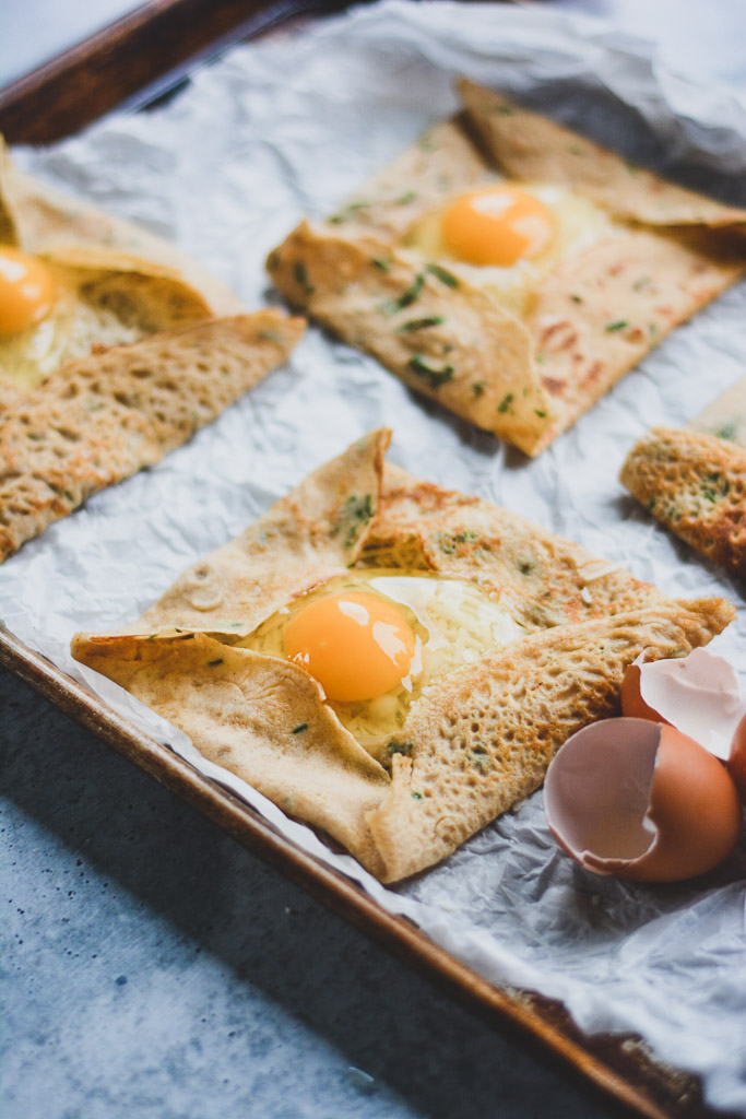 Savory crepes with parmesan, dijon, and eggs