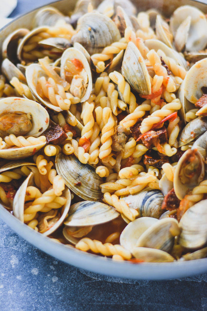 Gemelli pasta with a tomato sauce and clams
