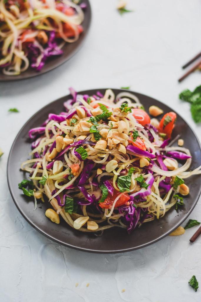 Thai Green Papaya Salad with Fresh Herbs and Peanuts