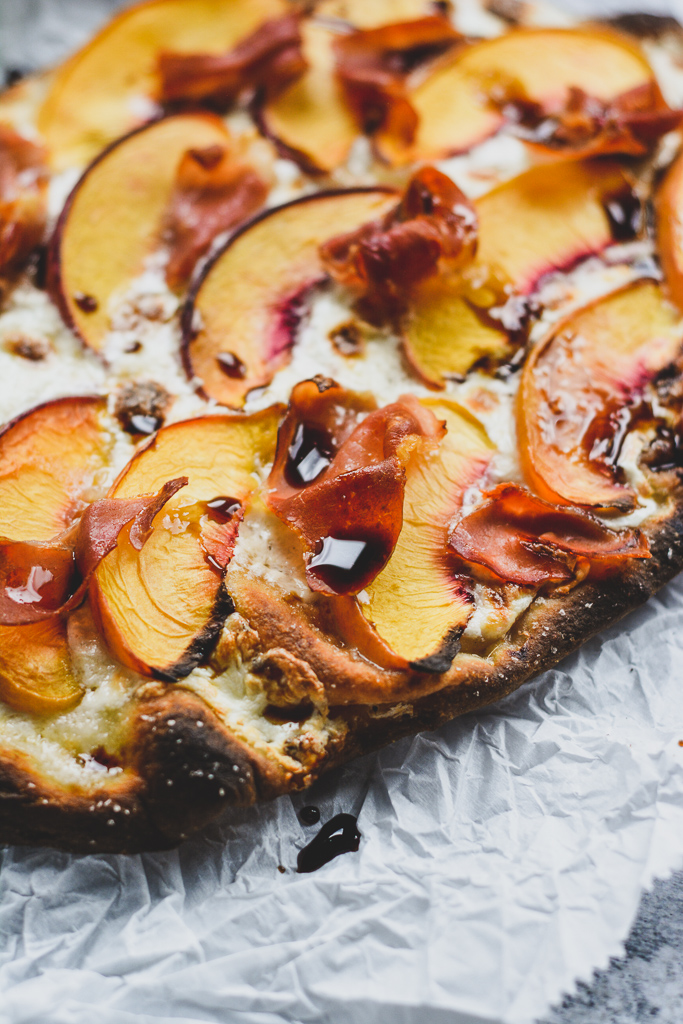 Peach and Prosciutto Pizza with Honey Balsamic Drizzle