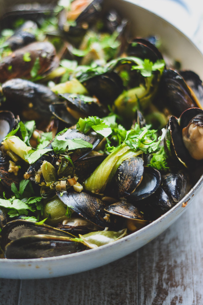 Green Curry Mussels with Thai Eggplant and Baby Bok Choy
