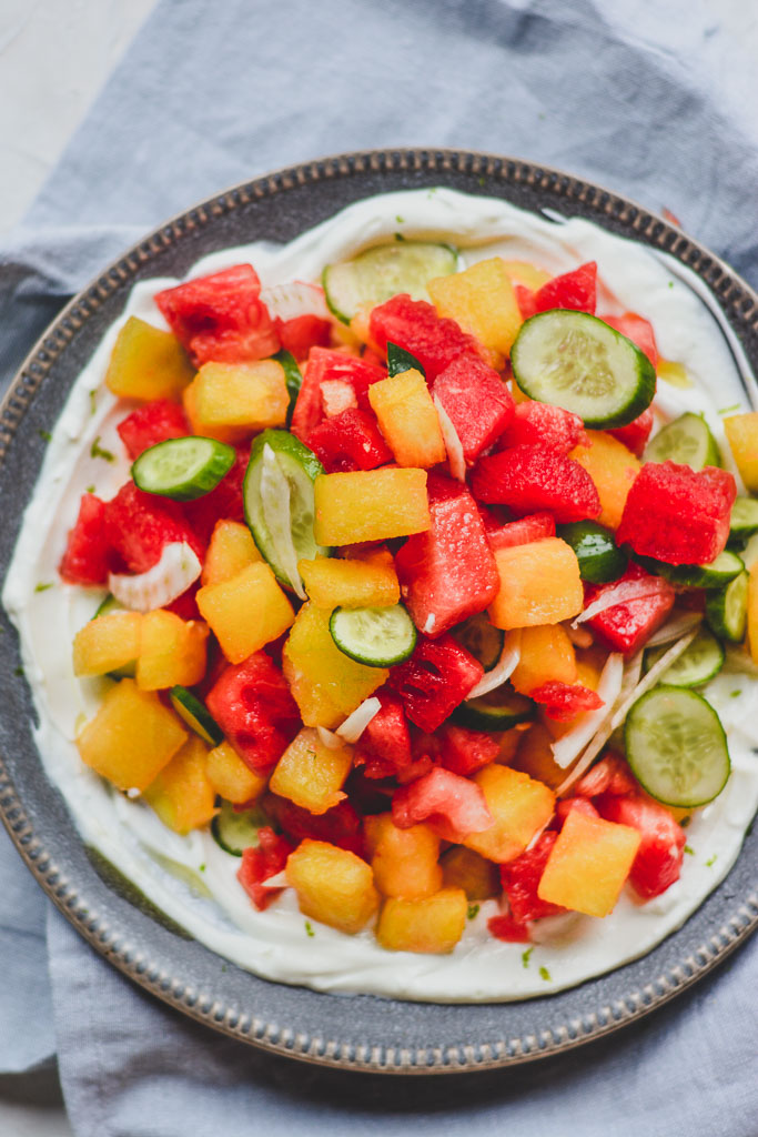 Savory Watermelon Salad with Cucumber and Fennel