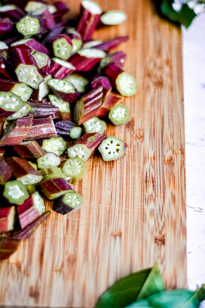 Sliced okra ready to be baked