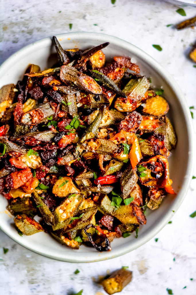 Smoky Cajun Baked Okra with Sweet Peppers and Crispy Bacon