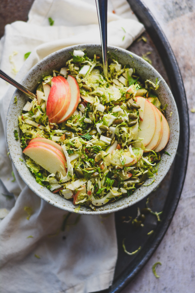 Apples, Pancetta, and Shaved Brussels Sprouts