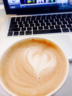 A soy mocha being enjoyed while working on assignments.
