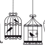 birds in cages drawing