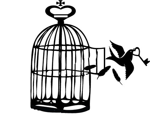 bird flying out of cage with key