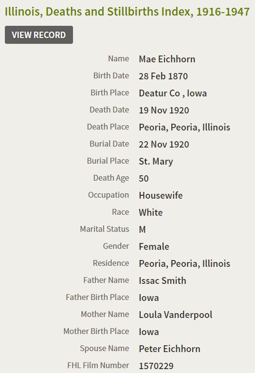 Mae Eichorn Death Record