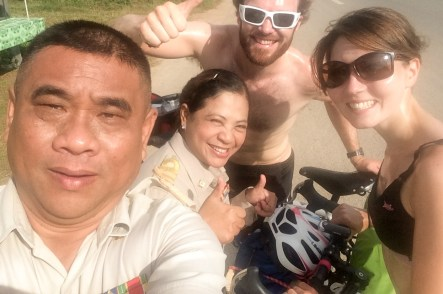 Happy Thai Officials cycle touring Thailand