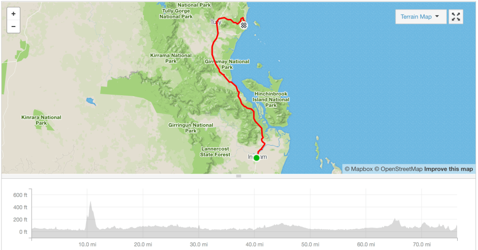 Ingham to Mission Beach cycle route Strava