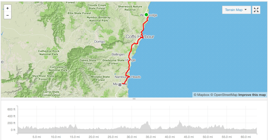 Woolgoolga to Macksville cycle route Strava