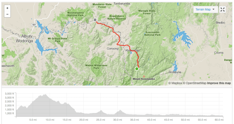 Geehi to Jingellic cycling route Strava