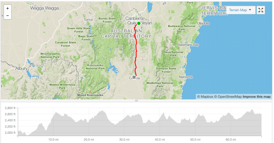 Queanbeyan to Cooma cycling route Strava