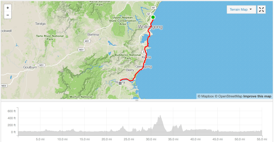Wollongong to Nowra cycling route Strava