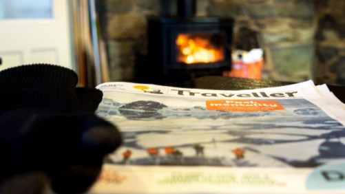 Log fire newspaper