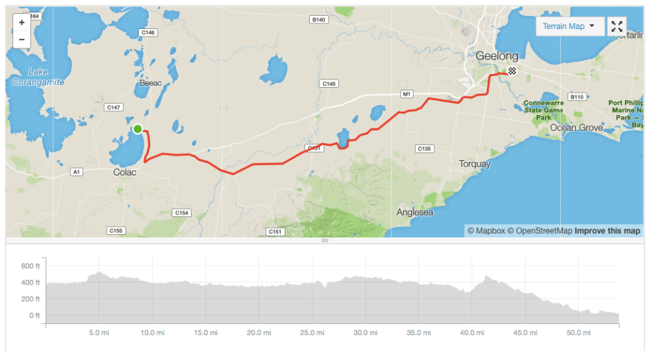 Lake Colac to Geelong