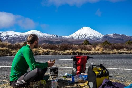 Tongariro National Park, Mount Doom, Mt Tongariro, Mt Ngauruhoe, Ruapehu, cycle touring New Zealand